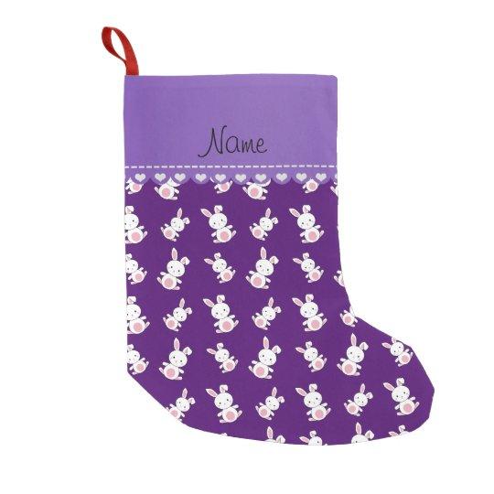 Personalised name purple white bunnies small christmas stocking