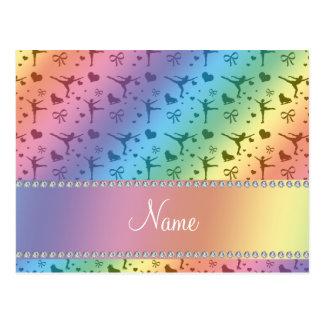 Personalised name rainbow figure skating postcard