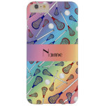 Personalised name rainbow lacrosse pattern barely there iPhone 6 plus case