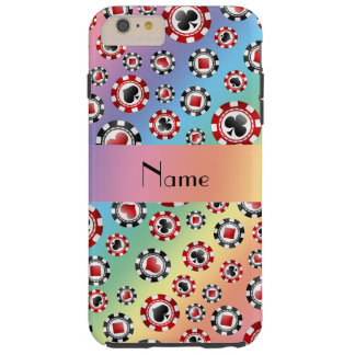 Personalised name rainbow poker chips tough iPhone 6 plus case