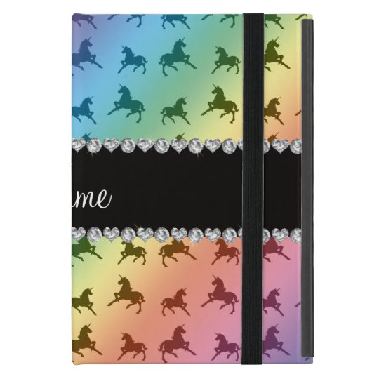 Personalised name rainbow unicorn pattern iPad mini case