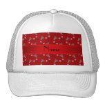 Personalised name red badminton pattern cap