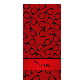 Personalised name red black glasses personalized photo card