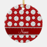 Personalised name red chevrons volleyballs round ceramic decoration