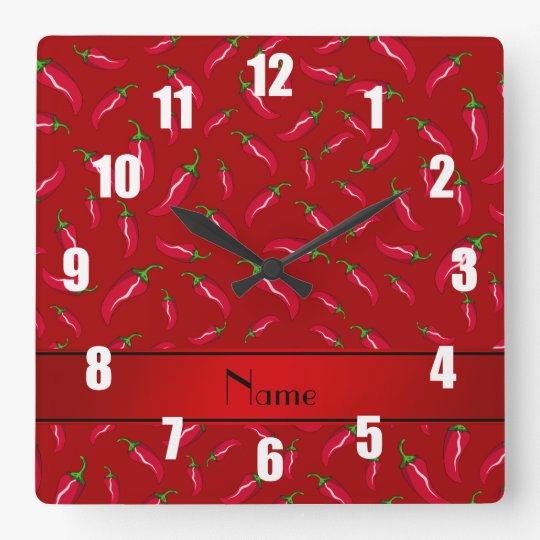 Personalised name red chilli pepper square wall clock