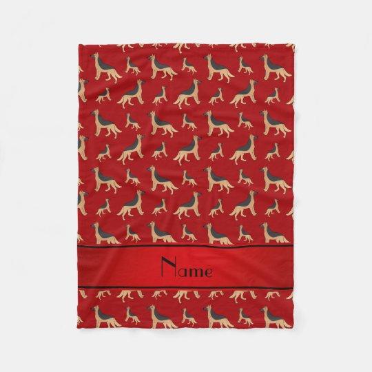 Personalised name red German Shepherd dogs Fleece Blanket