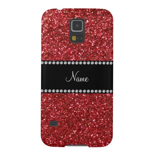 Personalised name red glitter galaxy s5 case