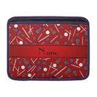 Personalised name red lacrosse pattern MacBook sleeve