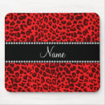 Personalised name red leopard pattern mouse mats