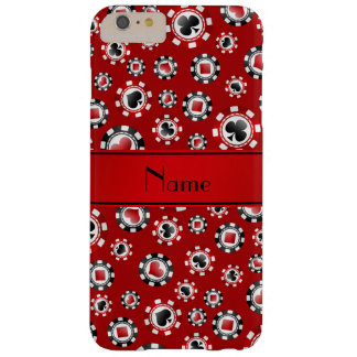 Personalised name red poker chips barely there iPhone 6 plus case
