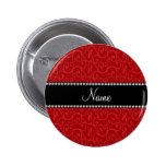 Personalised name red swirls 6 cm round badge