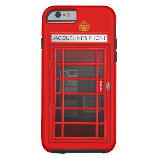Personalised Name Red Telephone Box iPhone 6 case