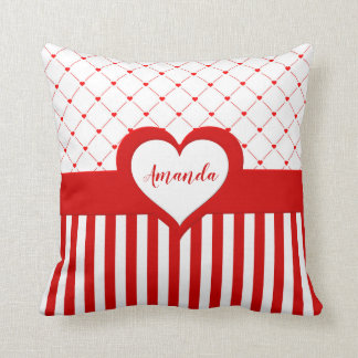 Personalised Name Red & White Heart Pattern Pillow