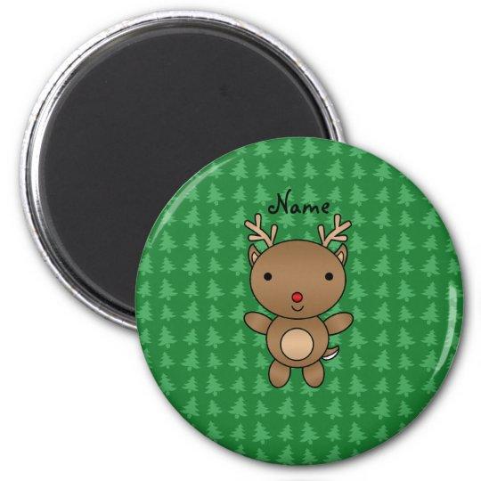 Personalised name reindeer green christmas trees magnet