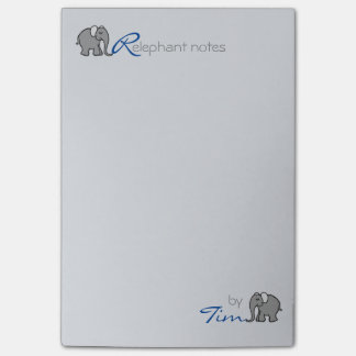 """Personalised Name """"RElephant Notes"""" Grey and Blue Post-it Notes"""