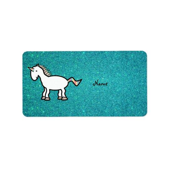 Personalised name retro unicorn turquoise glitter label