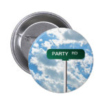 Personalised Name Road Street Sign on Blue Sky 6 Cm Round Badge