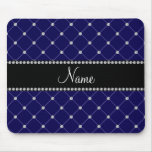 Personalised name Royal blue diamonds Mouse Mats