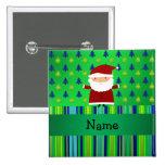 Personalised name santa green blue christmas trees