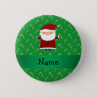 Personalised name santa green candy canes 6 cm round badge