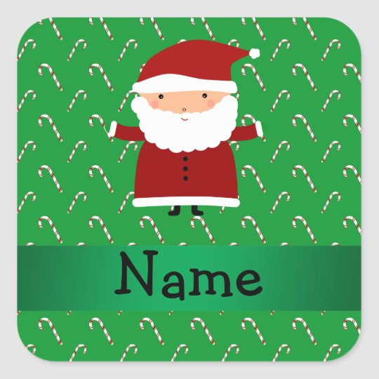 Personalised name santa green candy canes square sticker