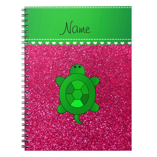 Personalised name sea turtle rose pink glitter notebook