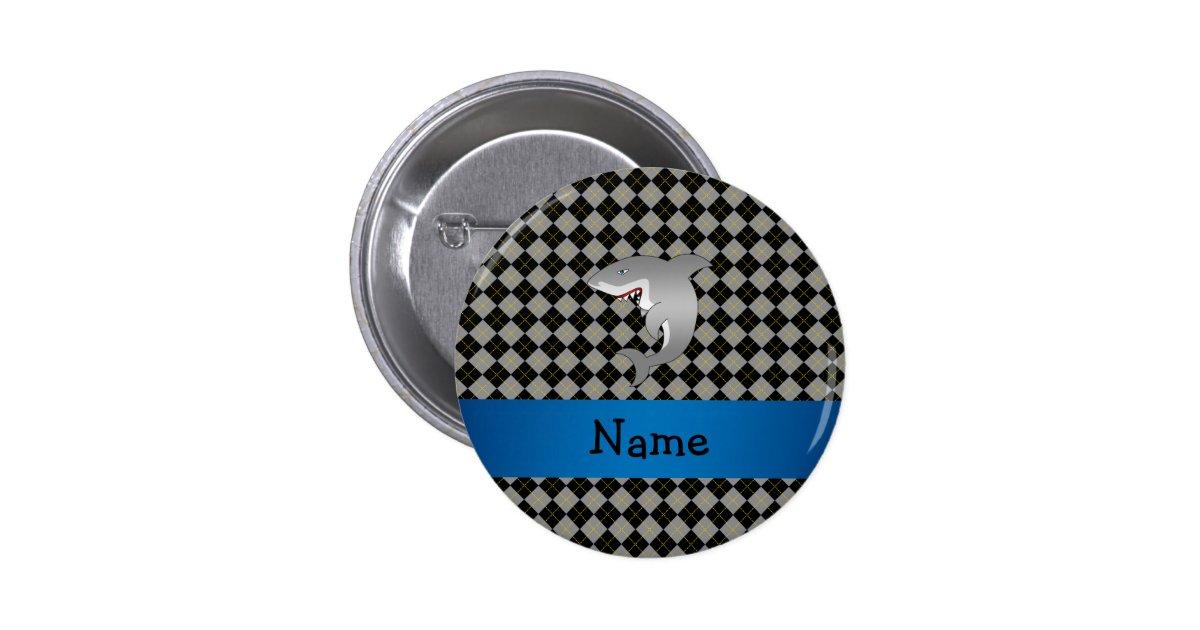 Personalised name shark argyle pattern 6 cm round badge zazzle