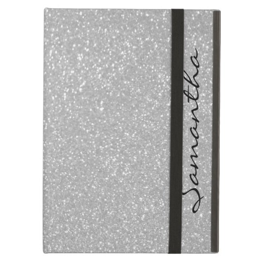 Personalised name silver glitter iPad air case