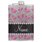 Personalised name silver glitter watermelons hip flask