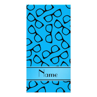 Personalised name sky blue black glasses photo cards