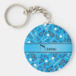 Personalised name sky blue lacrosse pattern