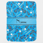 Personalised name sky blue lacrosse pattern baby blanket