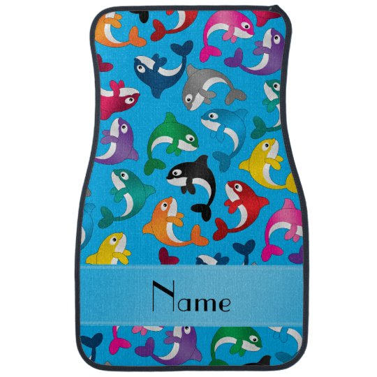 Personalised name sky blue rainbow killer whales car mat