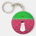 Personalised name snowman pink trees bows basic round button key ring