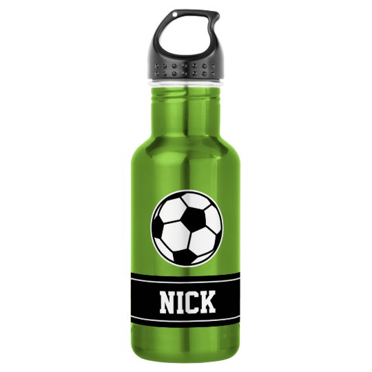 Personalised name soccer sports water bottle