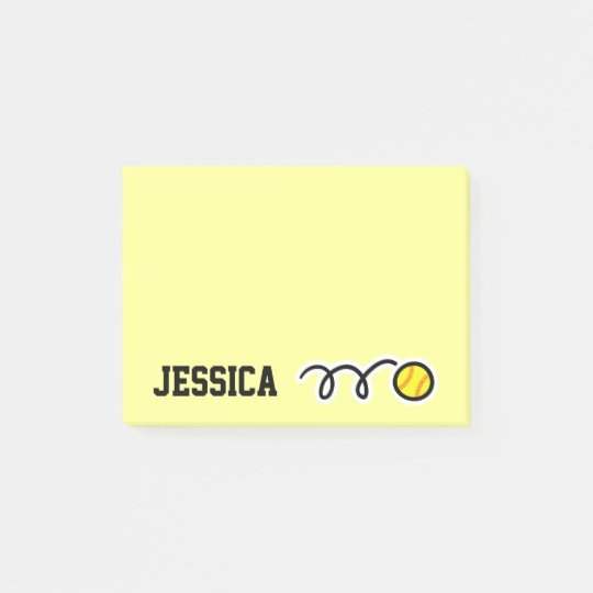 Personalised name softball Post-it® notes