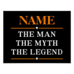 Personalised Name The Man The Myth The Legend Poster