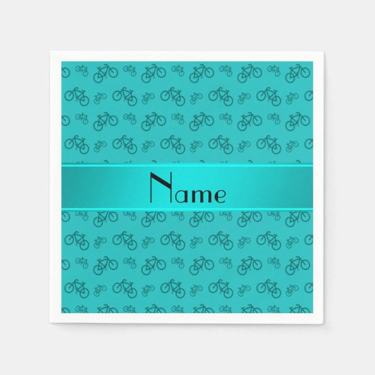 Personalised name turquoise bicycles paper serviettes