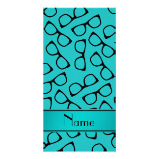Personalised name turquoise black glasses picture card