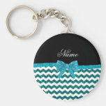 Personalised name turquoise glitter chevrons bow