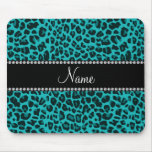 Personalised name turquoise leopard pattern mouse mat