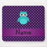 Personalised name turquoise owl purple diamonds mousemat