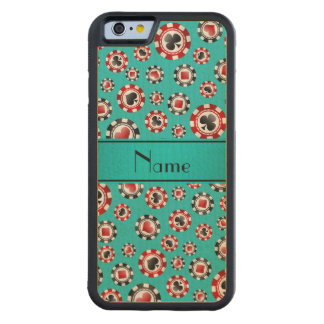 Personalised name turquoise poker chips maple iPhone 6 bumper case