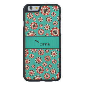 Personalised name turquoise poker chips carved® maple iPhone 6 slim case
