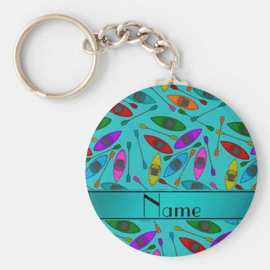 Personalised name turquoise rainbow kayaks key ring