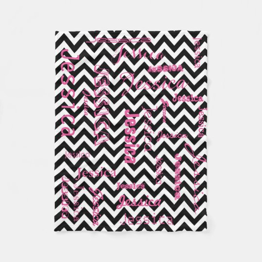 Personalised Name Typography Pink Black Chevrons Fleece Blanket