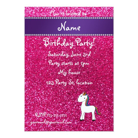 Personalised name unicorn pink glitter card