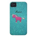 Personalised name unicorn turquoise glitter
