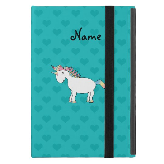 Personalised name unicorn turquoise hearts iPad mini case