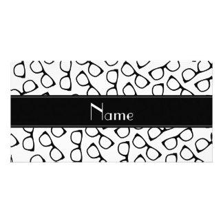 Personalised name white black glasses photo greeting card
